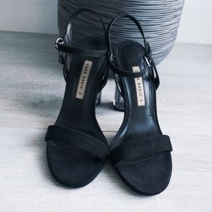 ZARA Suede/Transparent Block Heels